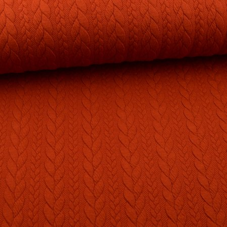 Knit Jaquard knitted fabric with braid pattern rust red