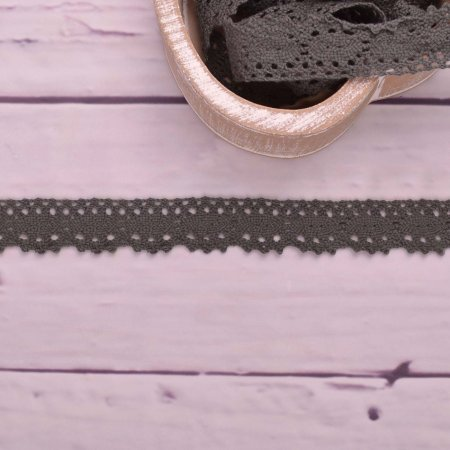 Knitted Trim Lace Trim Lace Dark Grey 25 mm