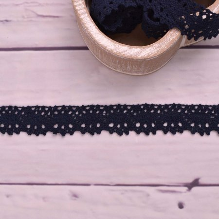 Knitted Trim Lace Trim Navy 25 mm