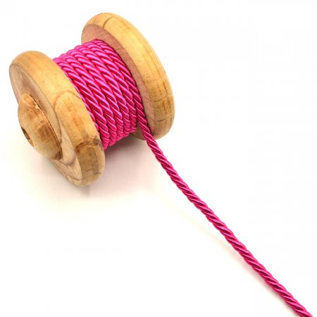 Twisted Artificial Silk Cord Pink 6mm