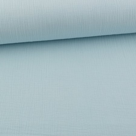 Organic Muslin Cotton Double Gauze Uni Ice Blue