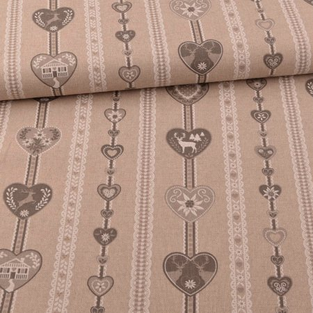 Canvas Emil linen look Christmas vines grey