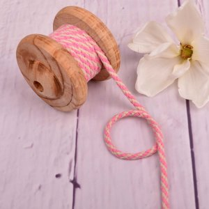 Cotton Cord Two-Tone Nature Light Pink 5 mm