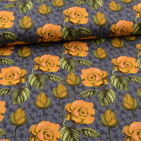 Jersey yellow roses on lace pattern