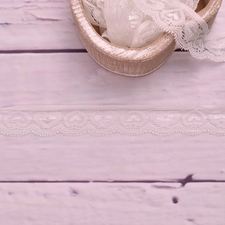 Elastic Lace Hearts White 30mm