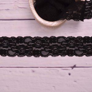 Elastic Lace Blossoms Black 55mm