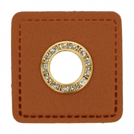 Leatherette Eyelette Patch brown 6mm - glitter gold
