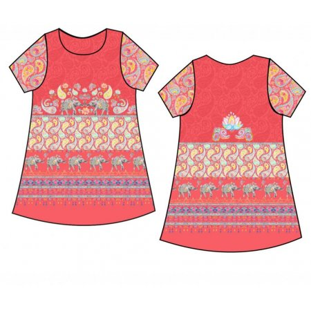 Jersey Big Panel Paisley Love coral