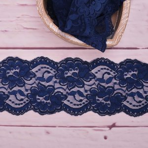 Elastic Lace Flower Dream Navy 9,5cm