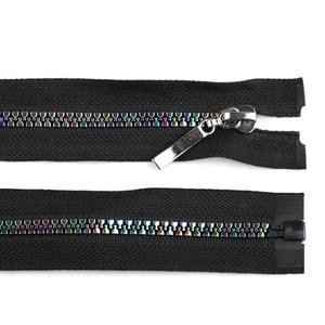 Rainbow Zipper Black 50 cm length