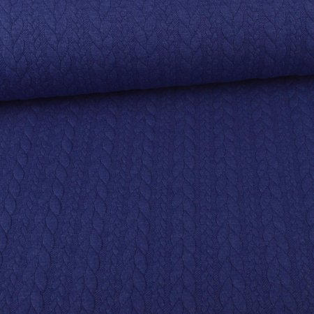 Knit Jaquard knitted fabric with Braid Pattern Royal Blue Melange