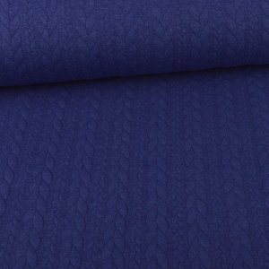 Knit Jaquard knitted fabric with Braid Pattern Royal Blue...