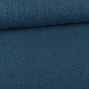 Knit Jaquard Knitted Fabric with Braid Pattern petrol...