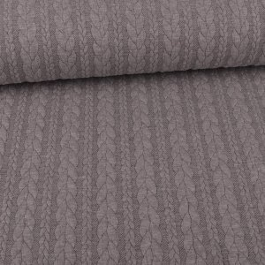 Knit Jaquard Knitted Fabric with Braid Pattern Light Grey...