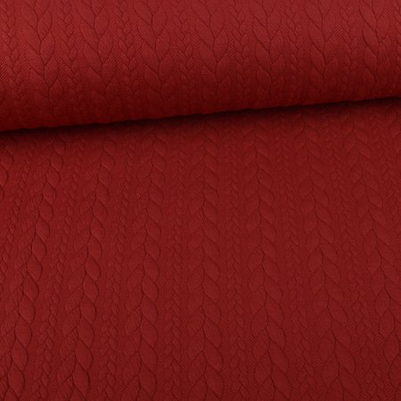 Knit Jaquard knitted fabric with Braid Pattern Dark Red