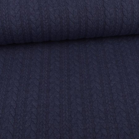 Knit Jaquard Knitted Fabric with Braid Pattern Jeans Blue Melange