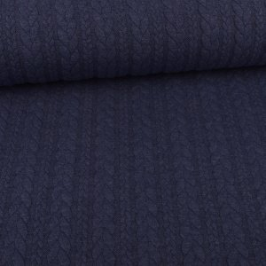 Knit Jaquard Knitted Fabric with Braid Pattern Jeans Blue...