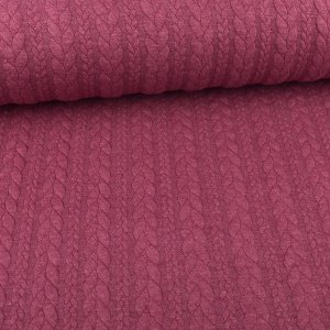 Knit Jaquard knitted fabric with Braid Pattern Berry Melange